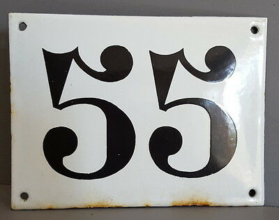 LARGE ANTIQUE FRENCH ENAMEL METAL DOOR HOUSE GATE NUMBER SIGN Black & white 55