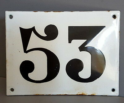 LARGE ANTIQUE FRENCH ENAMEL METAL DOOR HOUSE GATE NUMBER SIGN Black & white 53