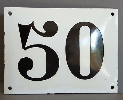 LARGE ANTIQUE FRENCH ENAMEL METAL DOOR HOUSE GATE NUMBER SIGN Black & white 50