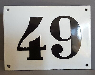 LARGE ANTIQUE FRENCH ENAMEL METAL DOOR HOUSE GATE NUMBER SIGN Black & white 49
