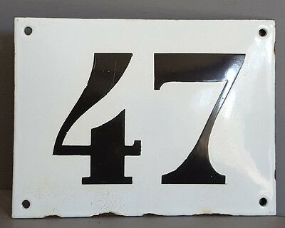 LARGE ANTIQUE FRENCH ENAMEL METAL DOOR HOUSE GATE NUMBER SIGN Black & white 47