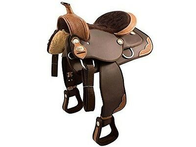 """Tahoe Tack Basket Weave Synthetic Western Saddle Leather Trims, Brown, 17"""""""
