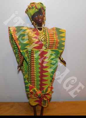 Vtg Ghanaian Barbie Dolls of the World 1996 Loose w/ West African Kente Tunic
