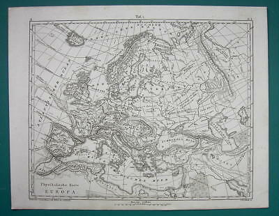 EUROPE Political & Physical Currents Mountains - (2) Two Maps from 1844