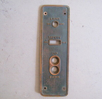 Vtg Brass Elevator Light On Off Safety On Off  Up Down Switch Button Panel Cover