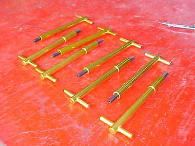 8 gold aluminum tall T-Bar valve cover wing bolts,SB chevy,rat rod 350,race