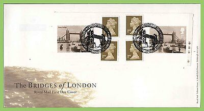 G.B. 2002 London Bridges Booklet pane on Royal Mail First Day Cover,London
