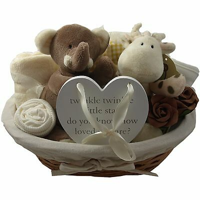Baby gift basket/hamper unisex neutral baby shower nappy cake baby gift