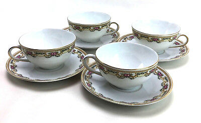 Rare Set Of 4 Royal Bayreuth Flat Cup Saucer Set Floral Bavaria