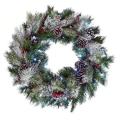 """24"""" (61cm) Light Up LED Green Snow Frosted Christmas Xmas Wreath Door Decoration"""