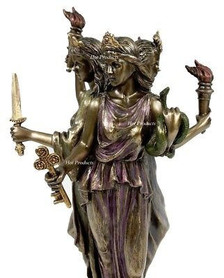 "8 1/4"" Hecate Greek Mythology Goddess of Magic & Witchcraft Statue Bronze Finish"