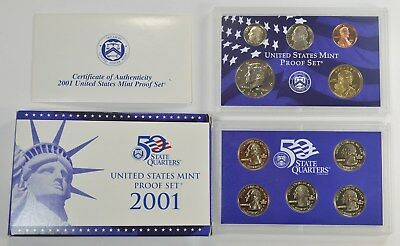 2001-S Proof Set Dollar Half State Quarters Nickel Cent US Mint 10 Coins w/Box