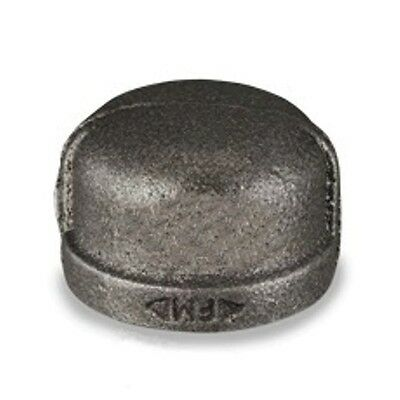 "3/4"" Inch Cap Black Malleable Iron Pipe Fittings Threaded Plumbing -P6654"