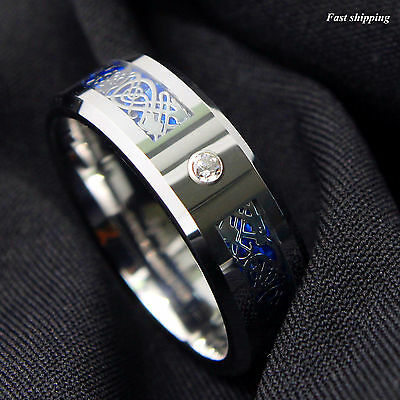 8Mm CZ Silver Celtic Dragon Tungsten Carbide Ring Wedding Band Men Jewelry GIFT