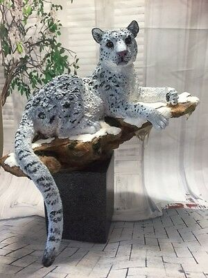White Snow Leopard Custom Painted Suanti Galleries Collectible Animal Figurine