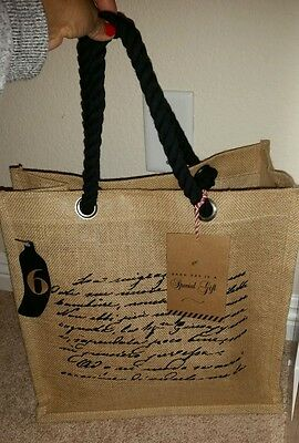 Jute Cotton 6 Bottle Wine Bag Tote Carry All NWT  Gift Made in India