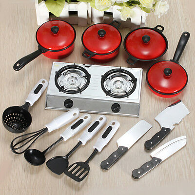 Kids Play House Toy Cooking Food Kitchen Utensils Pans Pots Dish Cookware Tackle