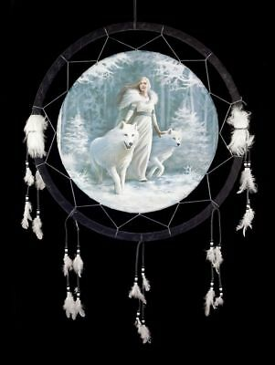 Large Dream catcher 60 cm with Wolf - Winter Guardians by Anne Stokes - Fantasy