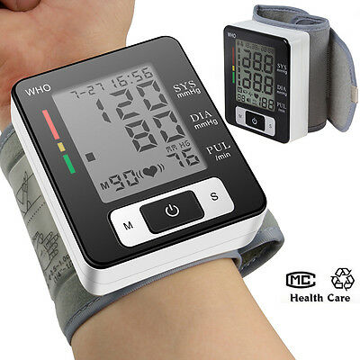 LCD Digital upper pulse Wrist Blood Pressure Monitors meter Automatic Monitor