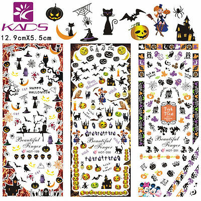 Showy 3 Sheets/Lot Halloween Nail Art Stickers Water Transfer Decal Authentic
