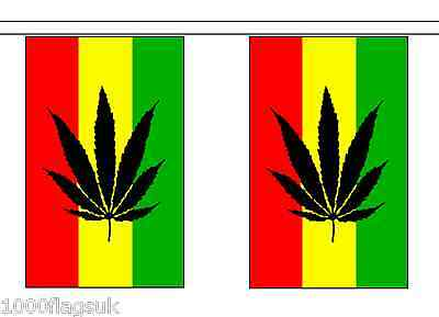 Rastafarian Cannabis Flag Bunting - 3m long with 10 Flags