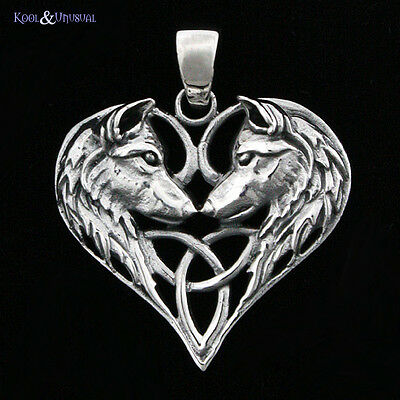 """Lisa Parker Sterling Silver Pendant: """"Wolf Heart"""" Wicca Pagan Triquetra"""