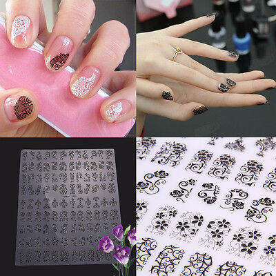 Beauty 108Pcs Flower Lace 3D Nail Art Stickers Decals Self Adhesive Transfers