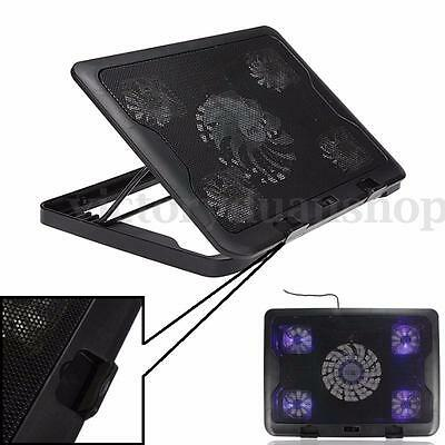 "5 Fan LED Ventilateur Refroidisseur Cooling USB Portable 10-17"" Notebook Laptop"