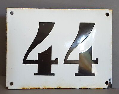 LARGE ANTIQUE FRENCH ENAMEL METAL DOOR HOUSE GATE NUMBER SIGN Black & white 44