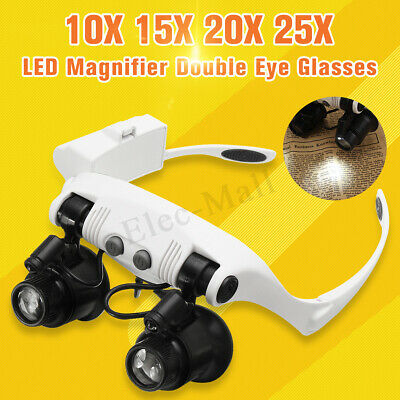 10X 15X 20X 25X 8 Lens Watch Repair Eye Glasses LED Lamp Magnifier Loupe Jewelry
