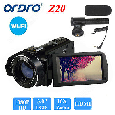 "ORDRO Z20 3.0"" 16× Zoom Full HD 1080P Digital Video Camera Camcorder 24MP HDMI"
