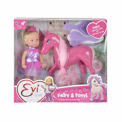 Evi Love Fairy And Pony Playset Sparkly Girls Doll Toy Accessories Assortment