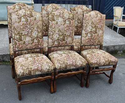 Good Set of 6 Walnut Framed Upholstered Osso Bucco upright Dining Chairs 1920's • £450.00
