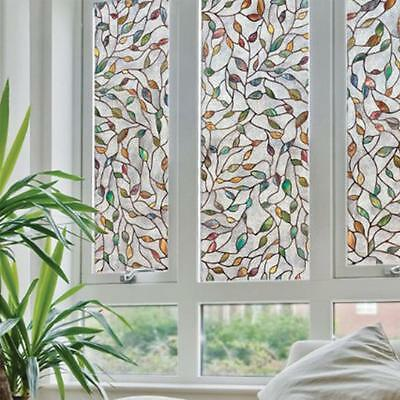 3D Leaf Static Cling Stained Glass Window 45x100cm   Film Window Decoration