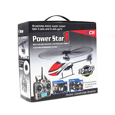 New WLtoys V966 2.4G 6CH Power Star 1 3D Flybarless RC Helicopter