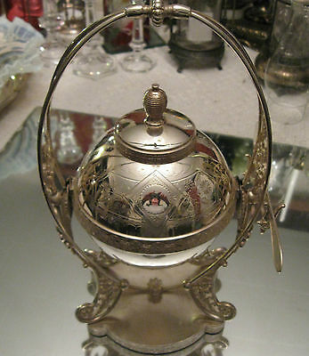 13.5'' High  Antique Victorian Silver Plate Dome Standing  Caviar Butter Dish