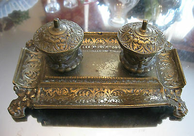 Antique 1800'S   Ornate Rare  Complete  Gilt Bronze Footed  Double Ink Well