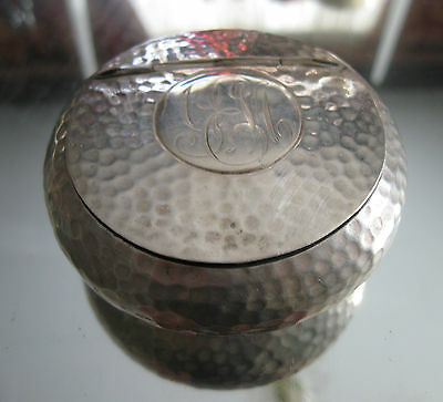 Rare!  Hand-Hammered Antique Birmingham 1906 Gold Wash Sterling Silver Snuff Box