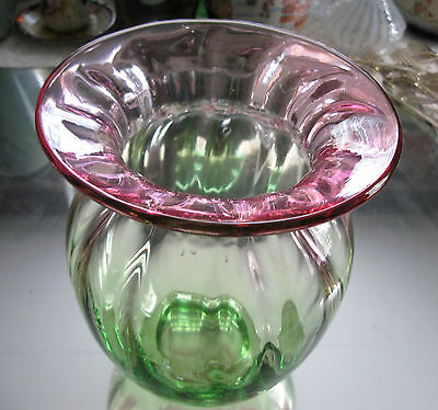 Large Antique/vintage   Ribbed Rubina Verde Cranberry  Glass Vase