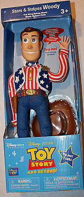 "Toy Story Rare 16"" USA STARS & STRIPES Talking Pull String Woody!"