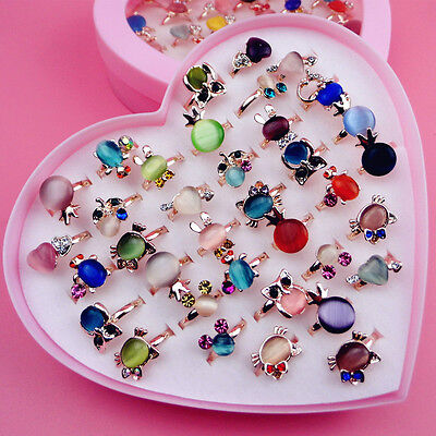 Fashion Children Kids Girls Ring Adjustable Wholesale Opal Diamond Jewelry Gift