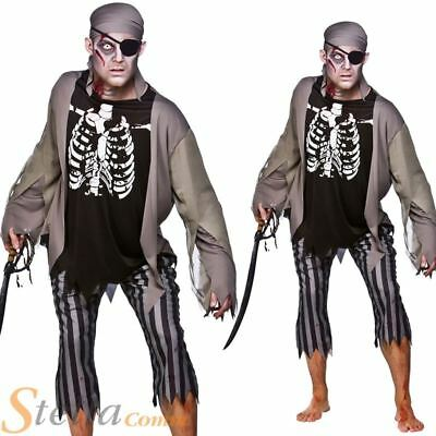 Mens Zombie Pirate Costume Skeleton Ghost Halloween Fancy Dress Adult Outfit