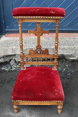 1900's Red Upholstered Prie Dieux with carved detailing.
