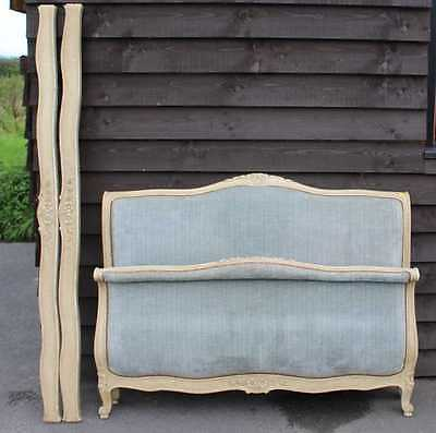 1920's Blue Upholstered French Corbeille style Walnut  Rails, Foot Head board