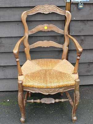 Elegant 1900's French Mahogany Rustic Occasional Carver Chair with Rush Seat