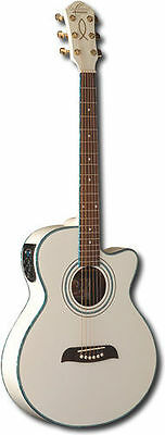Oscar Schmidt Acoustic/Electric Guitar, Spruce Top, WT92 Preamp, White, OG10CEWH