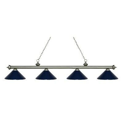 Z-Lite Riviera 4 Lt Island/Billiard Light, Antq Silver, Navy Blue - 200-4AS-MNB