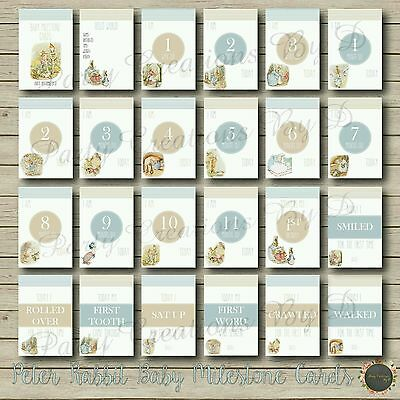 "Peter Rabbit Baby Boy Girl Moments & Milestones Cards 24 Pack 4×6"" Photo props"
