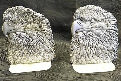 Vintage Pair Of Metzke American Made Pewter Highly Detailed Eagle Head Bookends