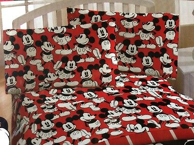 New Disney Classic Mickey Mouse Red Yellow Boy Girl 3Pc Twin Bedding Sheet Set
